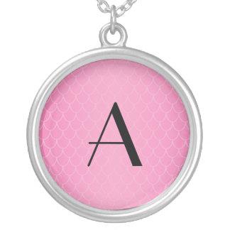 Pink dragon scales monogram round pendant necklace