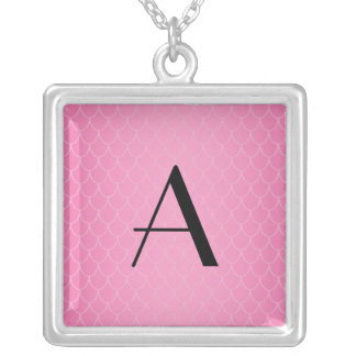 Pink dragon scales monogram square pendant necklace