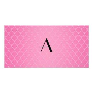 Pink dragon scales monogram customized photo card