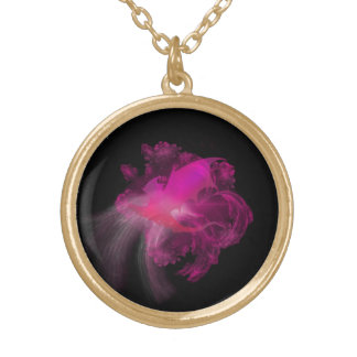 Pink Dragon with Black Background Gold Plated Necklace
