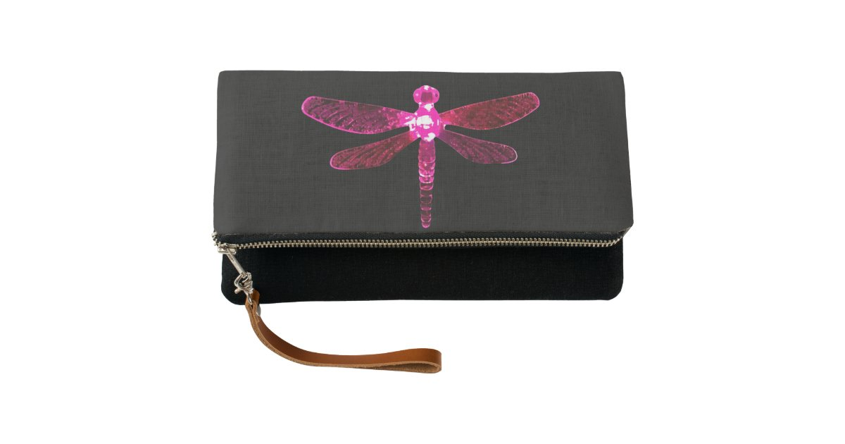 Pink Dragonfly Clutch