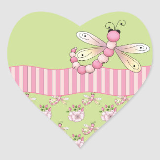 Pink Dragonfly Heart Stickers