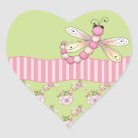 Pink Dragonfly Heart Stickers Stickers