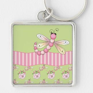 Pink Dragonfly Keyring