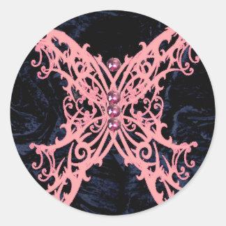 Pink Dragonfly/ Navy Velvet Design Classic Round Sticker