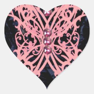 Pink Dragonfly/ Navy Velvet Design Heart Sticker
