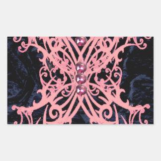 Pink Dragonfly/ Navy Velvet Design Rectangular Sticker