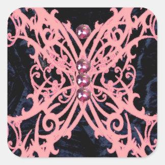 Pink Dragonfly/ Navy Velvet Design Square Sticker