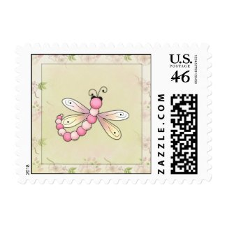 Pink Dragonfly stamp