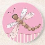 Pink Dragonfly Sandstone Coaster Beverage Coaster