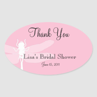 Pink Dragonfly Shower Thank You Sticker