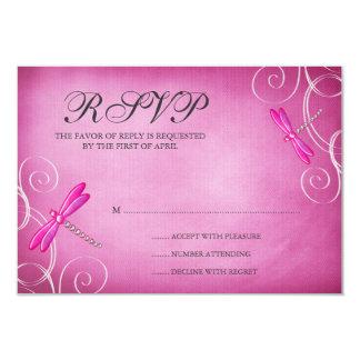 Pink Dragonfly Swirls Wedding RSVP Response Card