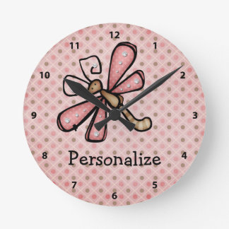Pink Dragonfly with Sparkles Personalized Clock