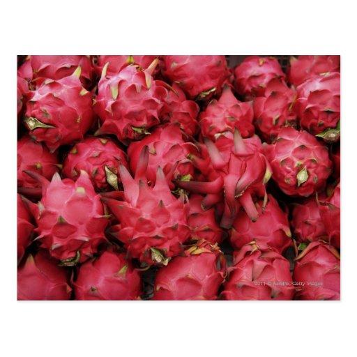 Pink Dragonfruit stacked together Postcard
