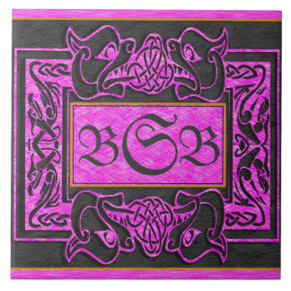 """Pink Dragons Breath"" 3 Initial Monogram Tile"