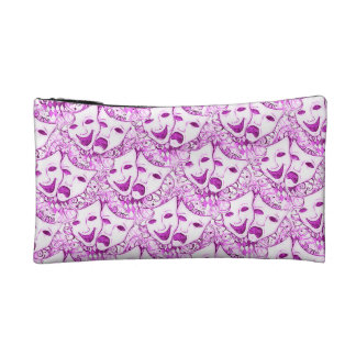 Pink Drama Mask, Comedy Tragedy Cosmetic Bag