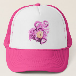Pink drawing girl face with flowers - hat