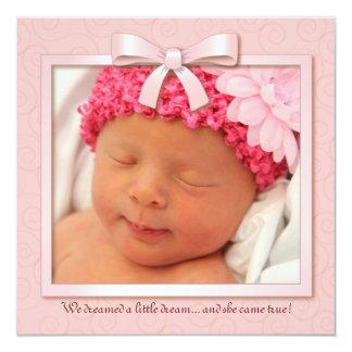 Pink Dream Baby Girl Photo Birth Announcement