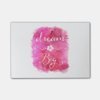 Pink Dream Big Inspirational Watercolor Quote Post-it® Notes
