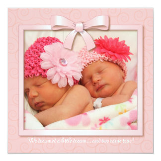 Pink Dream Twin Girl Baby Photo Birth Announcement