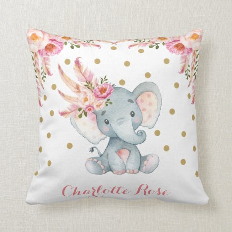 Pink Dreamcatcher Elephant Baby Girl Nursery Decor Throw Pillow