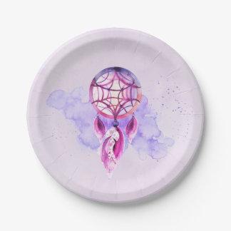 Pink Dreamcatcher On Purple Watercolor Splatter Paper Plate