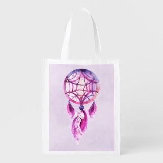 Pink Dreamcatcher On Purple Watercolor Splatter Reusable Grocery Bags