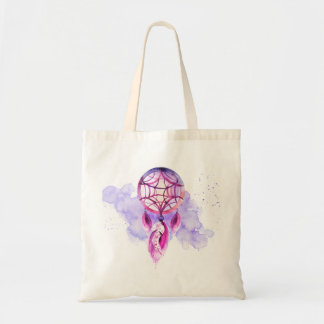 Pink Dreamcatcher On Purple Watercolor Splatter Tote Bag