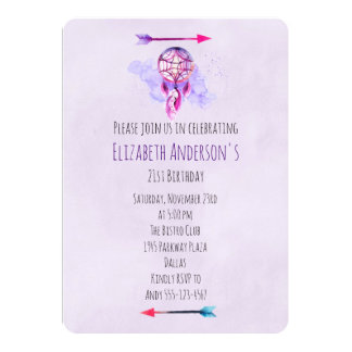 Pink Dreamcatcher Purple Watercolor Birthday Party Card
