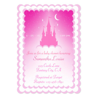 Pink Dreamy Castle In The Clouds Baby Shower 5x7 Paper Invitation Card