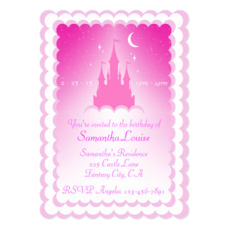 Pink Dreamy Castle In The Clouds Birthday Card