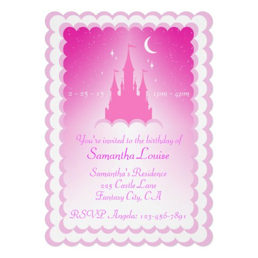 Pink Dreamy Castle In The Clouds Birthday Personalized Invitation
