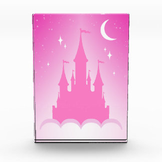 Pink Dreamy Castle In The Clouds Starry Moon Sky Acrylic Award