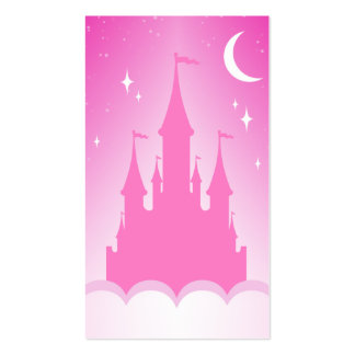 Pink Dreamy Castle In The Clouds Starry Moon Sky Business Card Template