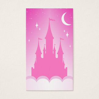 Pink Dreamy Castle In The Clouds Starry Moon Sky Business Card