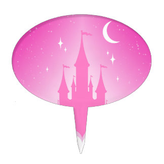Pink Dreamy Castle In The Clouds Starry Moon Sky Cake Pick