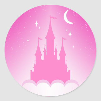 Pink Dreamy Castle In The Clouds Starry Moon Sky Classic Round Sticker