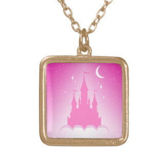 Pink Dreamy Castle In The Clouds Starry Moon Sky Gold Plated Necklace
