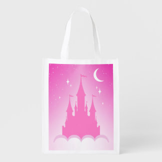 Pink Dreamy Castle In The Clouds Starry Moon Sky Grocery Bags