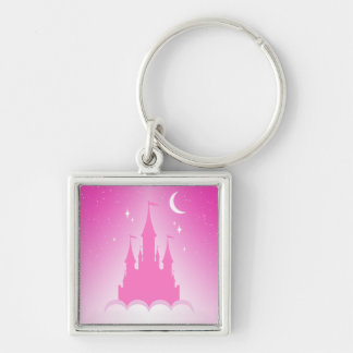Pink Dreamy Castle In The Clouds Starry Moon Sky Keychain