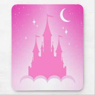 Pink Dreamy Castle In The Clouds Starry Moon Sky Mouse Pad