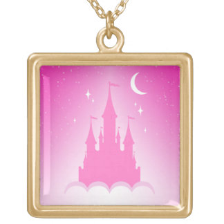 Pink Dreamy Castle In The Clouds Starry Moon Sky Square Pendant Necklace