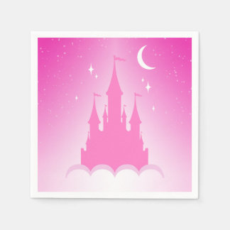 Pink Dreamy Castle In The Clouds Starry Moon Sky Standard Cocktail Napkin