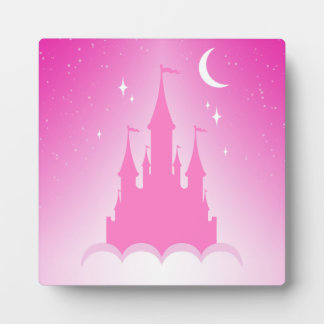 Pink Dreamy Castle In The Clouds Starry Moon Sky Display Plaque