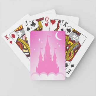 Pink Dreamy Castle In The Clouds Starry Moon Sky Playing Cards