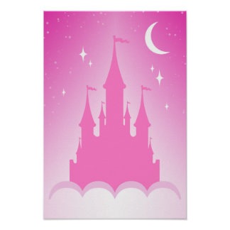 Pink Dreamy Castle In The Clouds Starry Moon Sky Poster