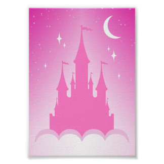 Pink Dreamy Castle In The Clouds Starry Moon Sky Posters