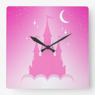 Pink Dreamy Castle In The Clouds Starry Moon Sky Square Wall Clock