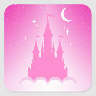 Pink Dreamy Castle In The Clouds Starry Moon Sky Square Sticker