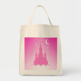 Pink Dreamy Castle In The Clouds Starry Moon Sky Tote Bag